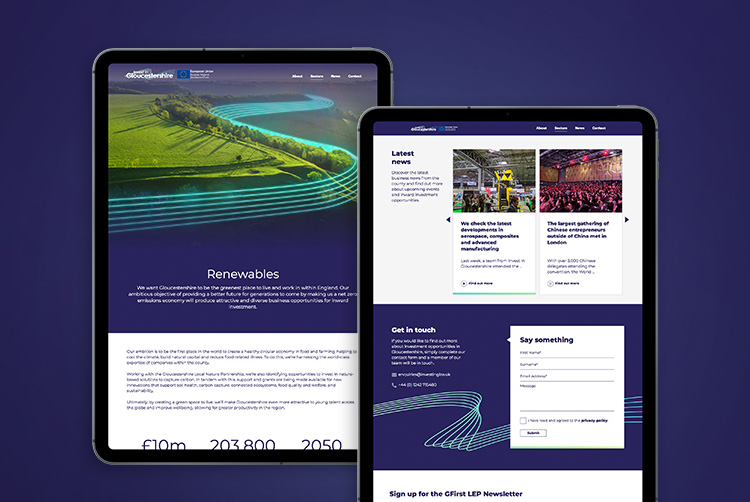 The Invest in Gloucestershire website, designed by Mighty - web design Gloucestershire