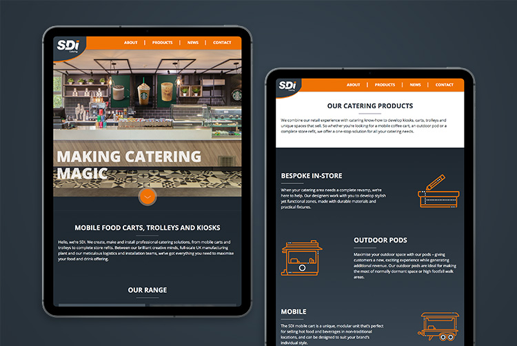 SDI Catering responsive website design by Mighty, web design Cheltenham