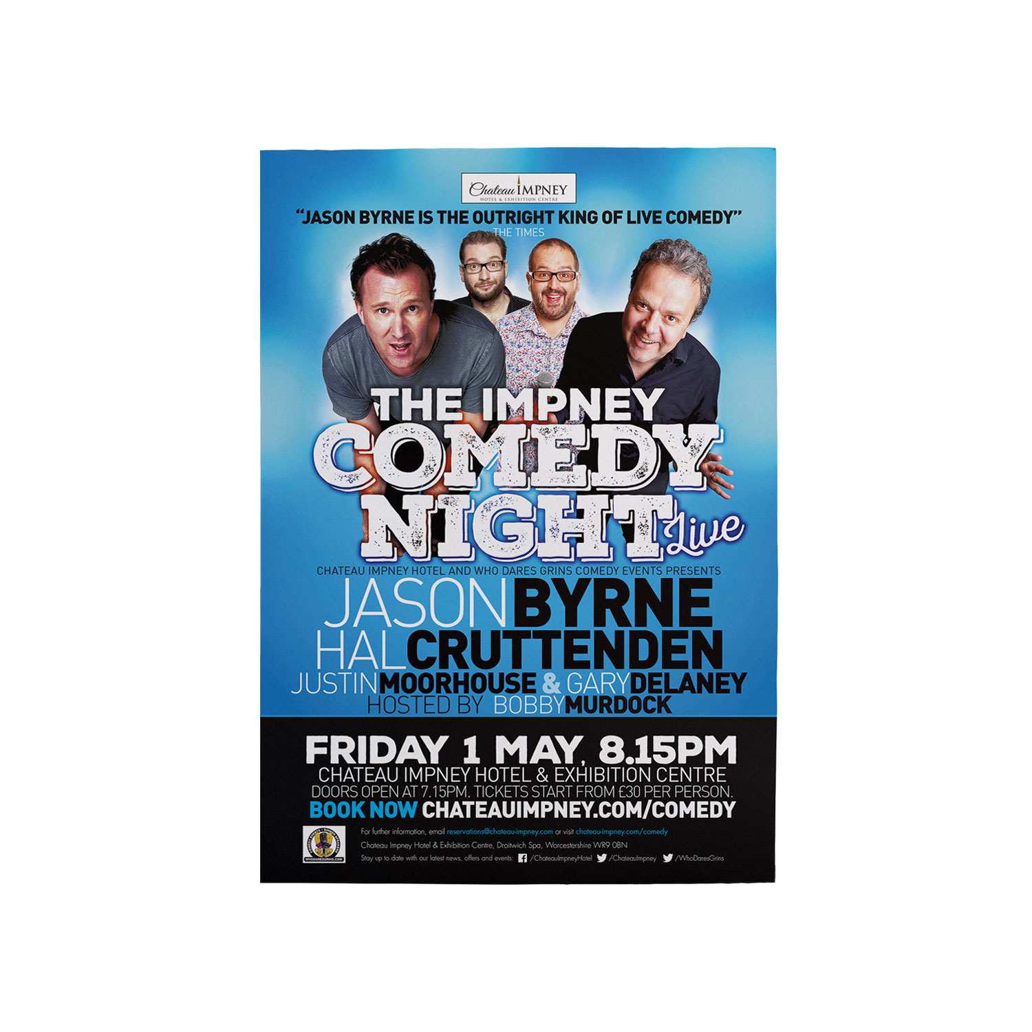 Chateau Impney Comedy Night poster designed by Mighty, hotel marketing agency Worcester
