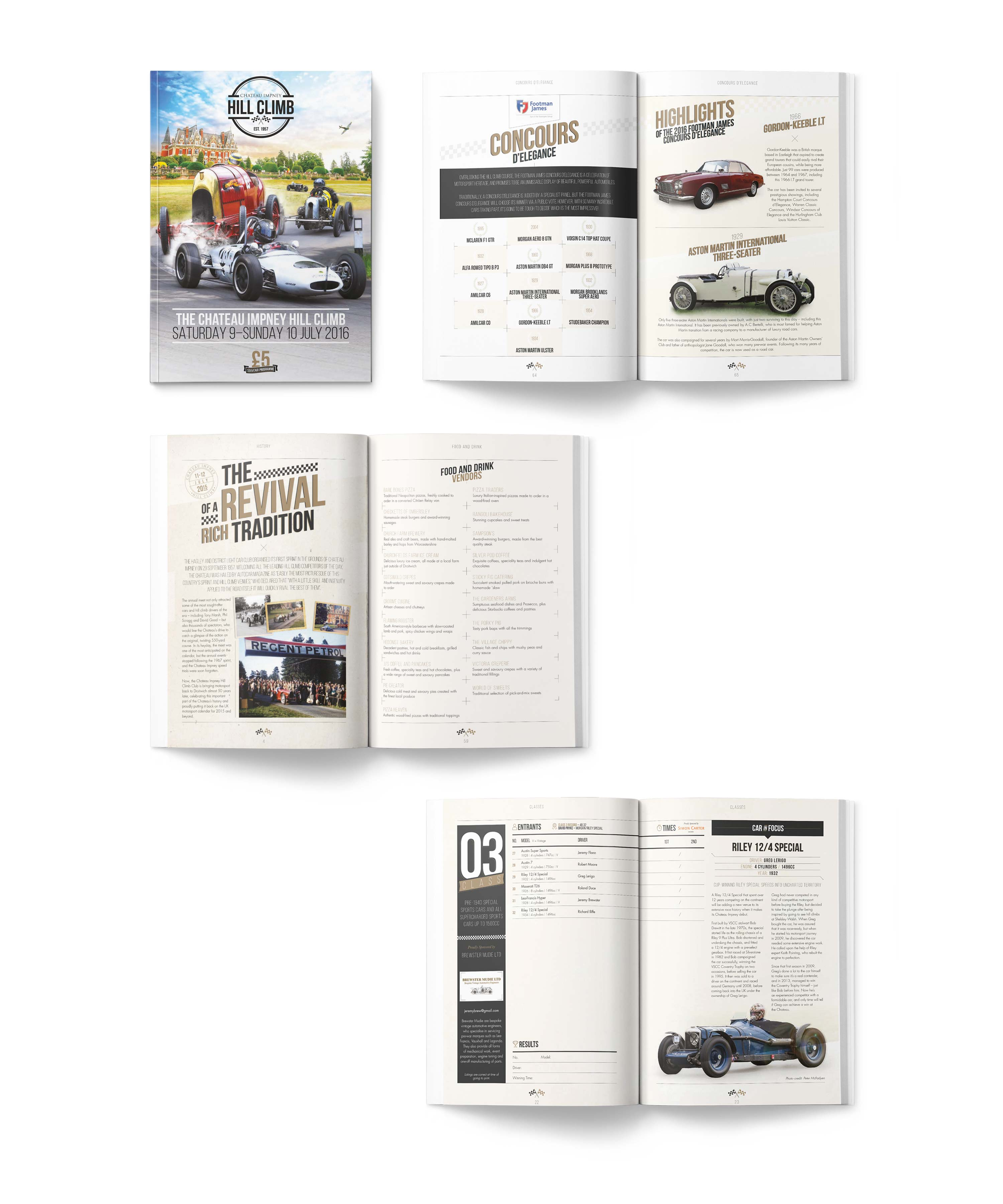 Event programme design and print for Chateau Impney Hill Climb by Mighty, marketing agency Worcester