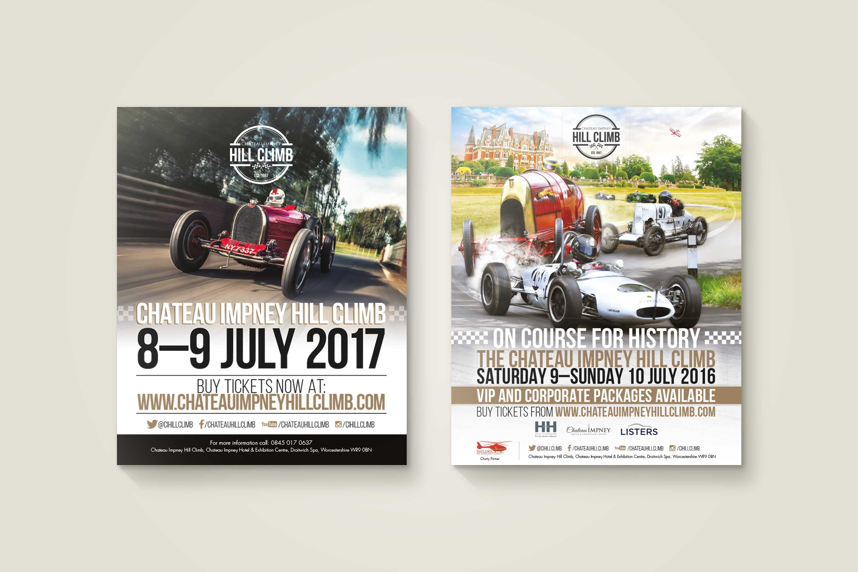 Poster design for Chateau Impney Hill Climb by Mighty, marketing agency Worcester