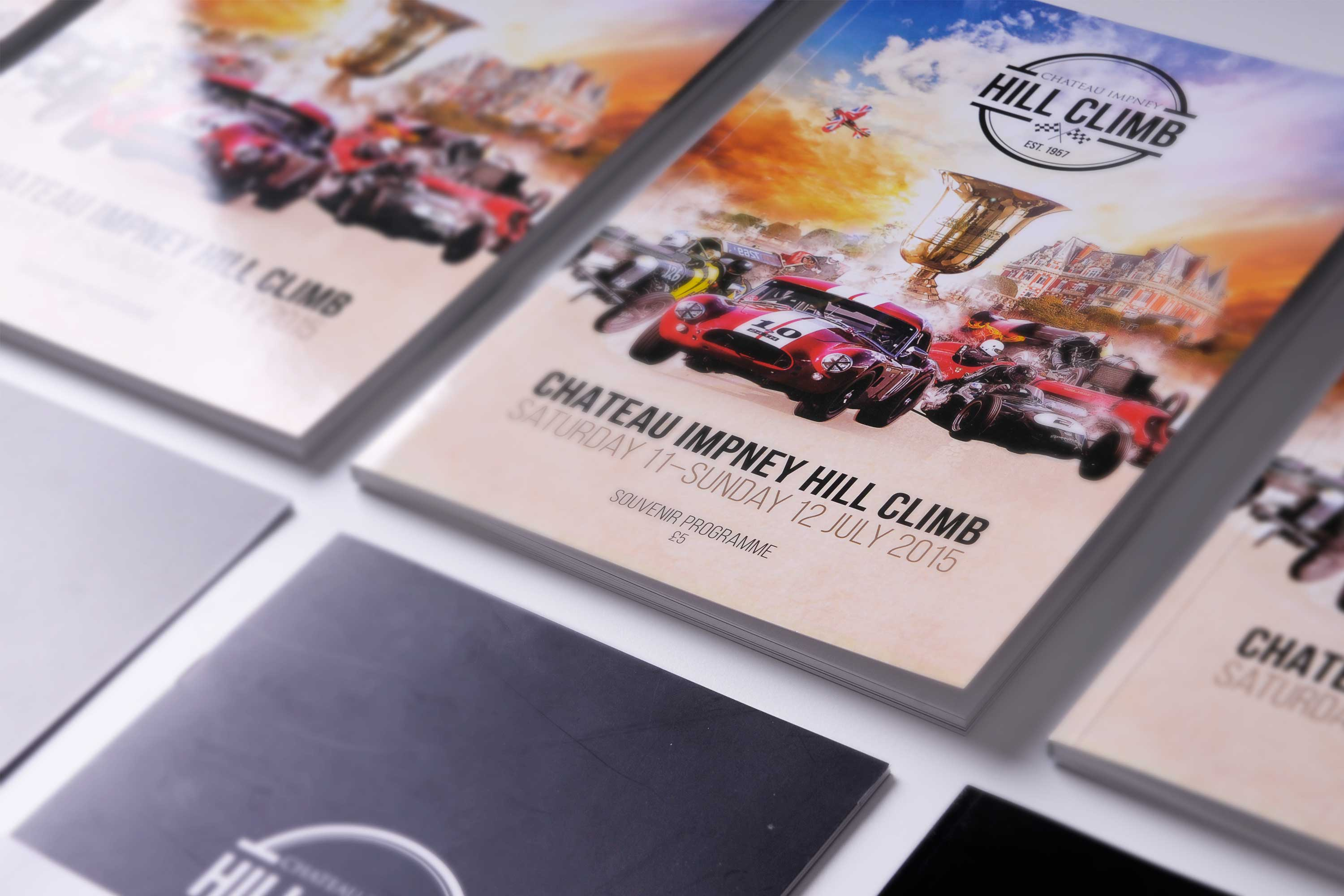 Programme design for Chateau Impney Hill Climb, marketing agency Worcester