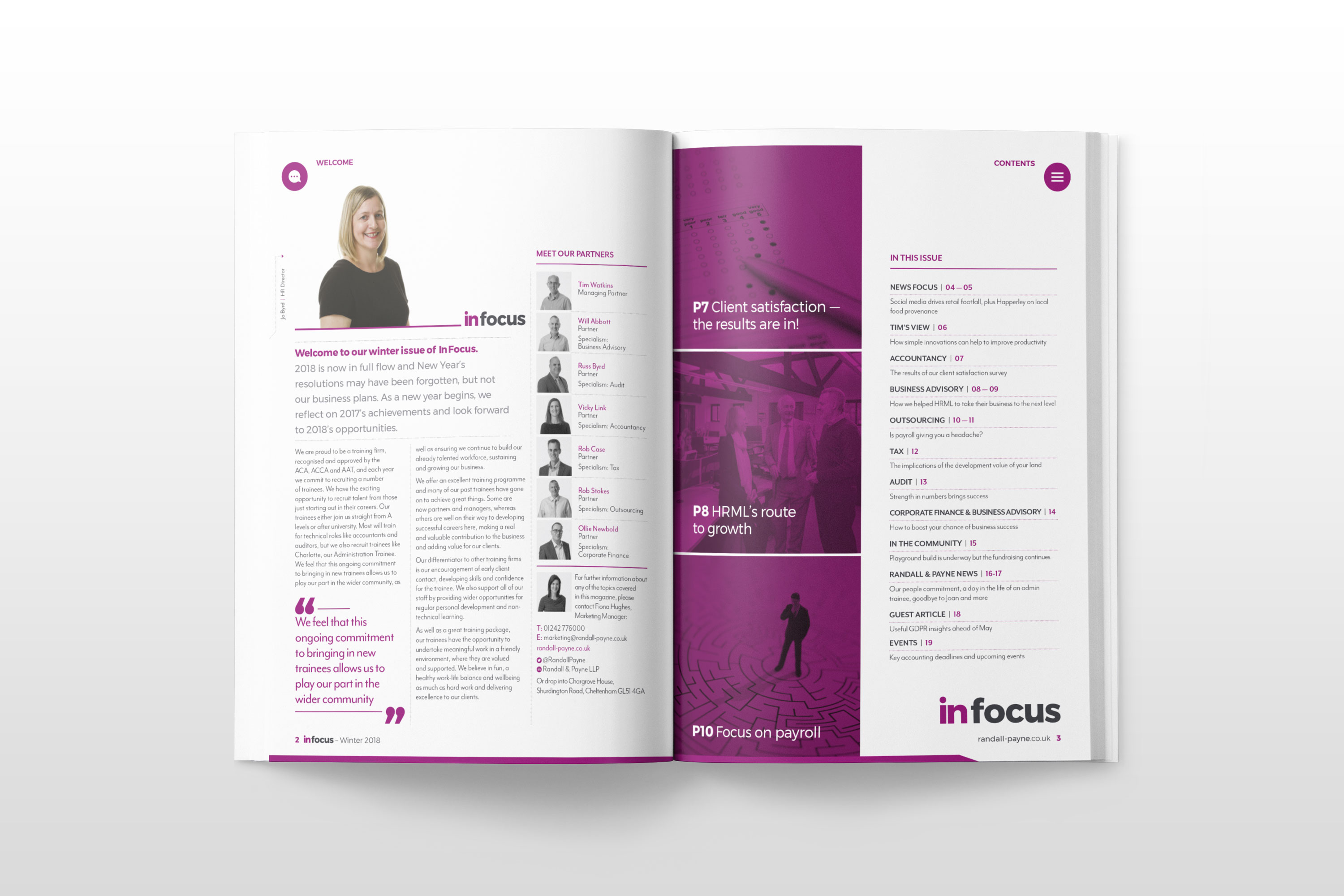 Page design for In Focus by Mighty, design agency Cheltenham