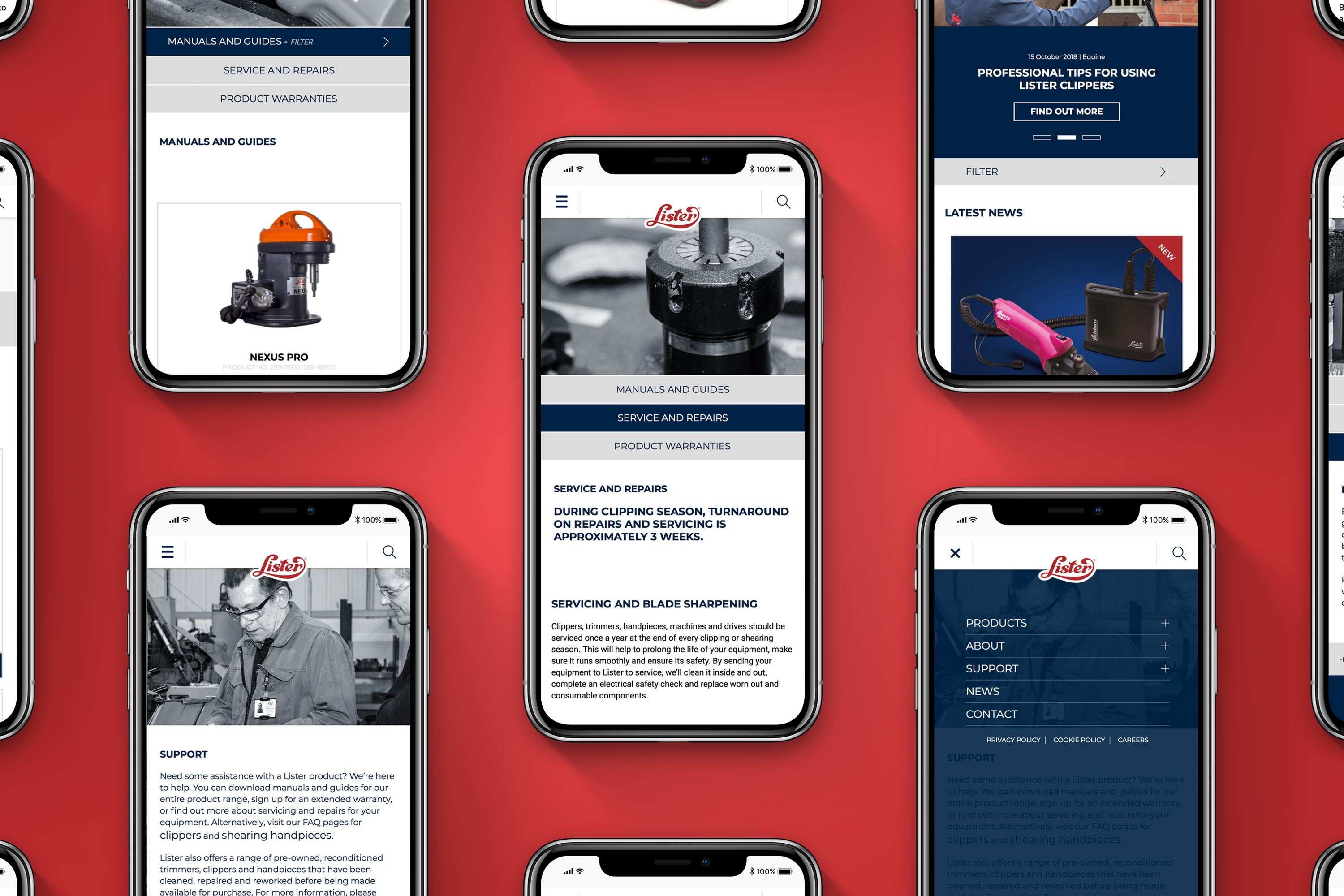 Responsive web design for Lister Shearing by Mighty, branding agency Cheltenham