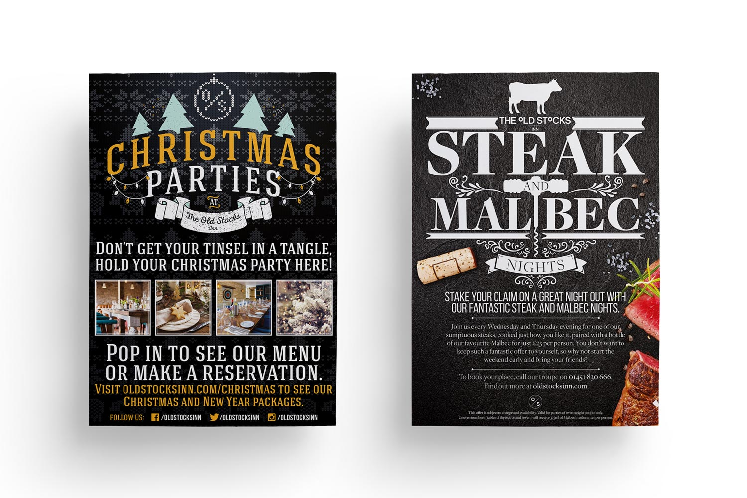 Poster design for The Old Stocks Inn by Mighty, hotel marketing agency