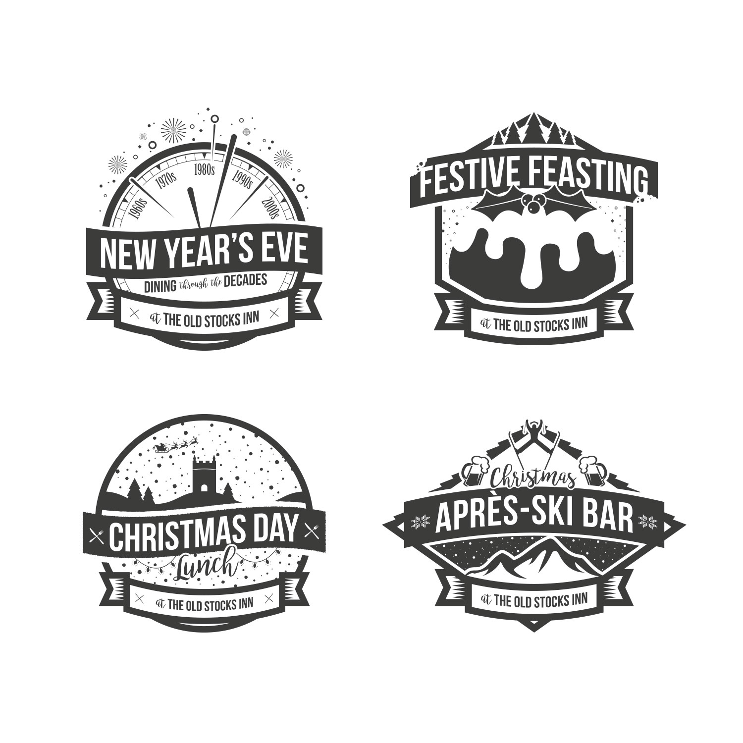 Christmas event icons designed for The Old Stocks Inn by Mighty, hotel marketing agency