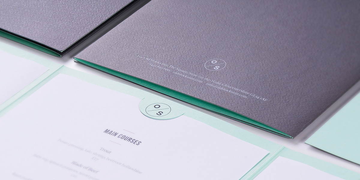 Hotel menu design and print for The Old Stocks Inn by Mighty, hotel marketing agency