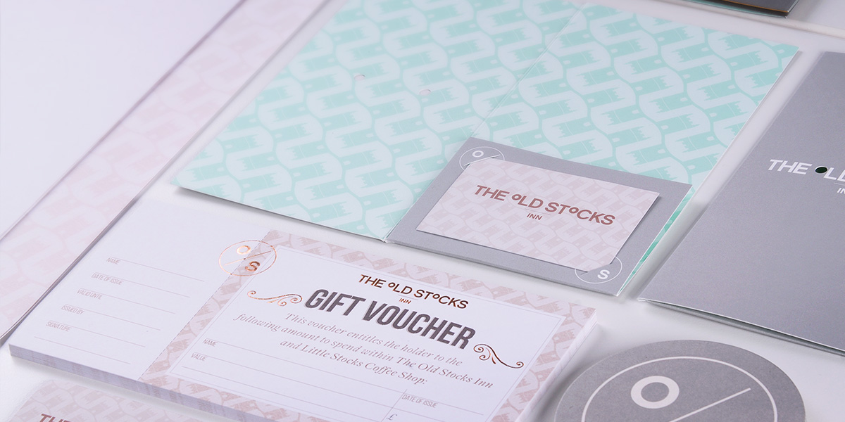 Gift voucher design and print for The Old Stocks Inn by Mighty, hotel marketing agency