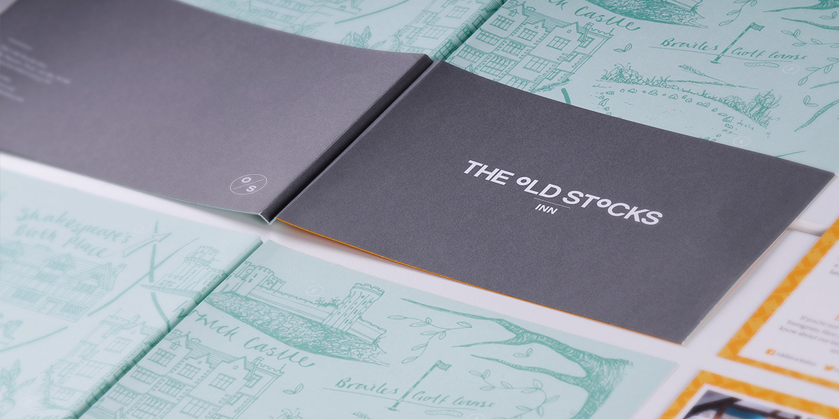 In-room pack design for The Old Stocks Inn by Mighty, hotel marketing agency