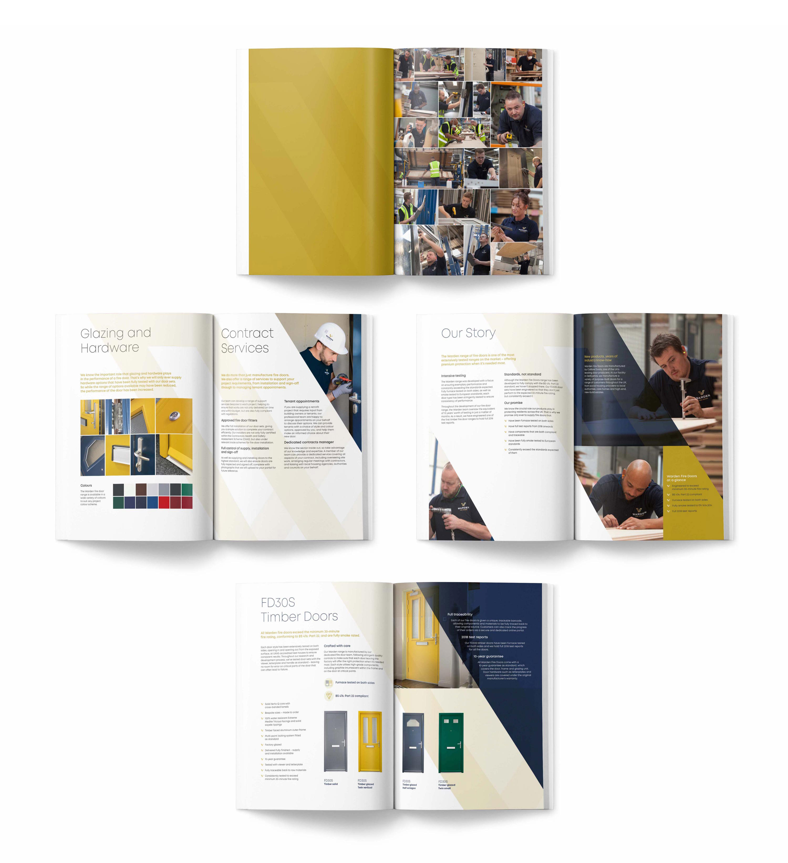 Inner pages from the Warden Fire Doors brochure, designed by branding agency Mighty