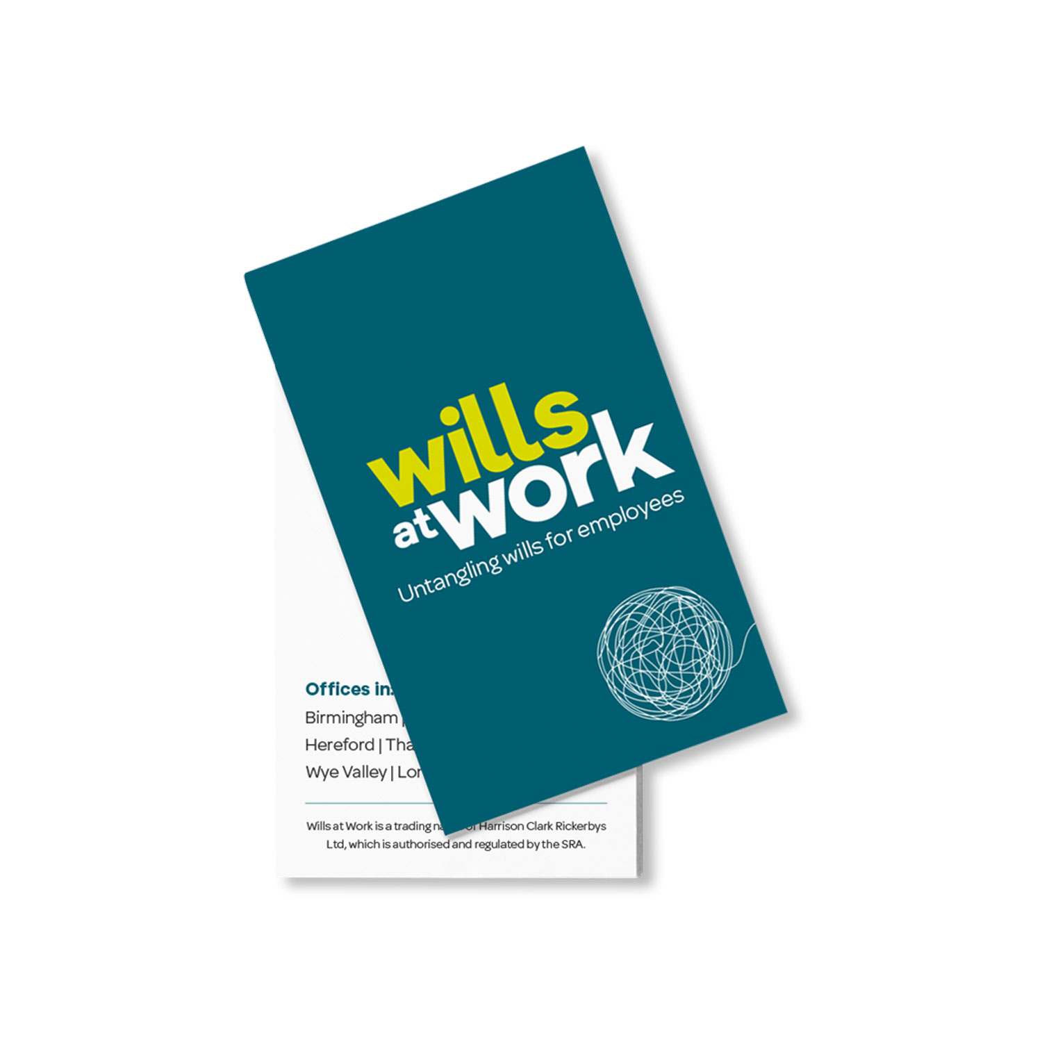 Wills at Work leaflet design by Mighty, branding agency Worcester
