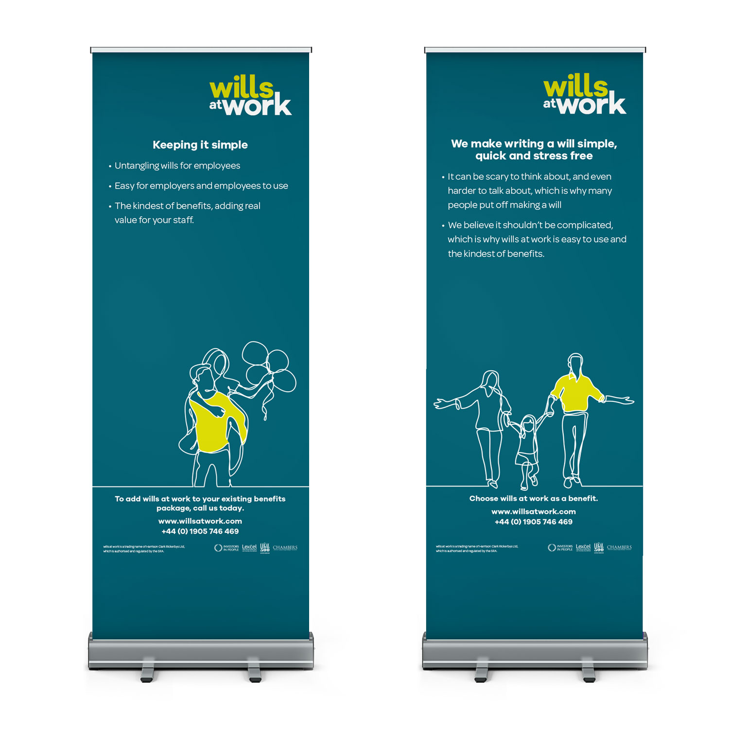 Wills at Work pop-up banner design for Harrison Clark Rickerbys by Mighty, branding agency Worcester