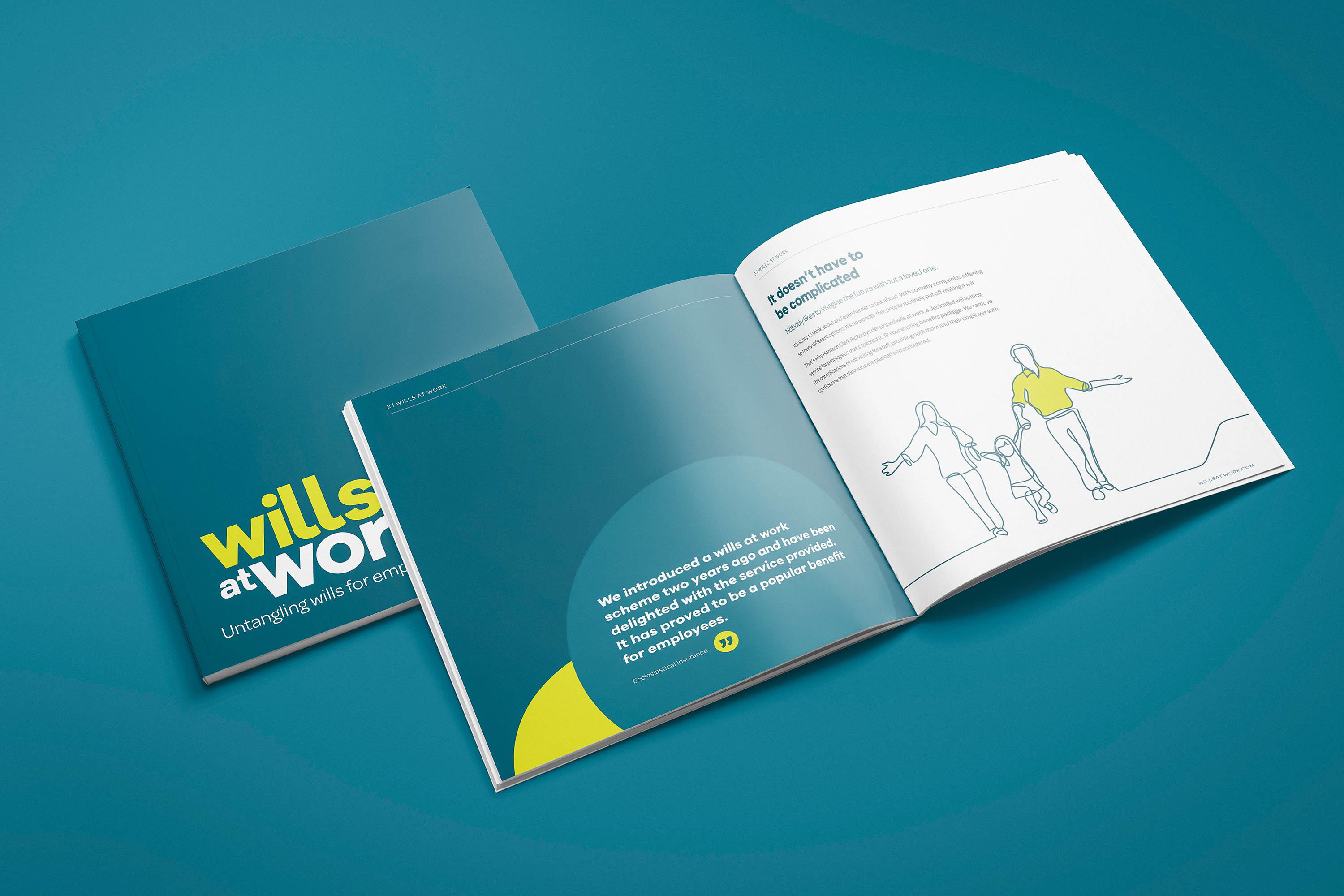 Brochure design for Harrison Clark Rickerbys' Wills at Work by Mighty, branding agency Worcester