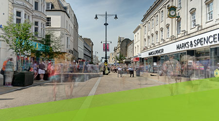 Cheltenham High Street photographed for GFirst LEP by Mighty, web design agency Cheltenham